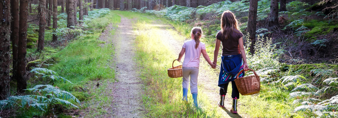 To barn med soppkurv i skogen